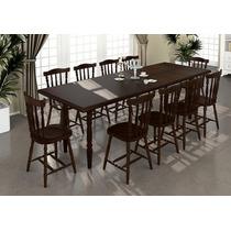 Mesa De Jantar Com 10 Cadeiras Madeira Maciça Castanho Lu...