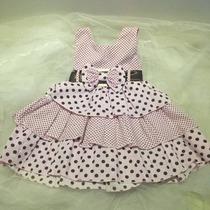 Lindo Vestido Infantil De Bolinhas Rosa/marrom