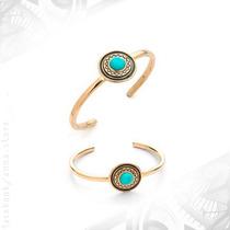 Bracelete Turquesa Dourado Boho Tibetano Étnico Gypsy