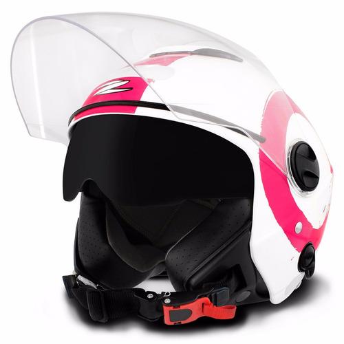 Capacete Aberto Zeus 202fb T40 Arty White Pink Branco Rosa