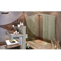 Kit Box Light C1 Banheiro 1,50m De Canto, Vidro Temperado