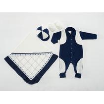 Saida De Maternidade Para Menino Glamour Rn Azul E Branca