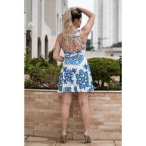 Vestido Curto Floral, Azulejo, Tiras,decote, Azul E Branco