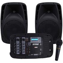 Kit Mixer Pa Amplificado Novik Nkevo410 2 Caixas 10