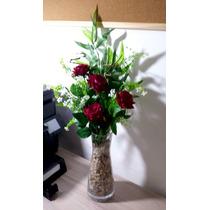 Arranjo De Rosas Vaso Vidro - Flores Artificiais Artificial