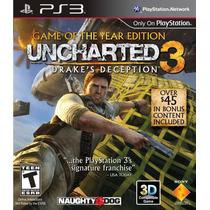 Jogo Uncharted 3 Drakes Deception Goty Ps3 Dublado Português