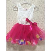 Vestido De Festa Menina - Tule Com Pétalas De Rosas Colorida