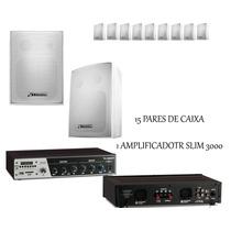 Sistema Receiver Amplificador Usb + 30 Caixas Som Ambiente