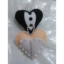 Chaveiro Coração Lembrancinhas Em Feltro Kit Com 10
