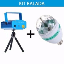 Kit Balada Iluminação Festa Mini Laser +super Strobo Rgb Led