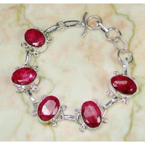 Pulseira Bracelete Feminino Pedras Naturais Rubis Prata 925