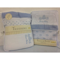 Kit Enxoval Para O Bebê Toalha E Travesseiro Bordado