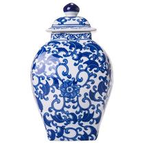 Vaso Azulejo Português Com Tampa Azul E Branco Em Porcelana