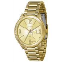 Relógio Lince Dourado Feminino (orient) Lrgk038l Prova Dágua