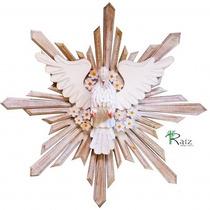 Divino Espírito Santo Madeira Flores 73cm Luxo Frete Grátis