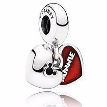 Charm Pandora Banhado Prata Mickey And Minnie Mouse Disney