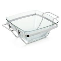 Saladeira Quadrada De Vidro Linha Andrea - 2737 Forma Inox