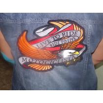 Colete Jeans Motociclista Com Bordado Igual Ao De Couro.