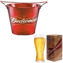 Kit Balde Gelo C/ 4 Taça Copo Budweiser Licenciado Bud+ Nota