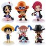 Kit Com 6 Figures Bonecos One Piece Luffy Ruffy Ace Hawk Eye