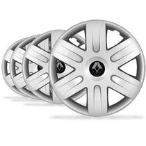 Jogo Calota Aro 15 Clio Logan Scenic Emblema Renault - P454