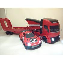 Único! Caminhão Reboque+carro Controle Remoto Brinquedo Dtc
