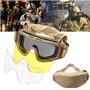 Oculos C/ 3 Lentes Tan Policarbonato Paintball Airsoft - Uv