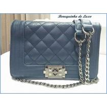 Bolsa Com Corrente Prata Envelhecida - Cor : Azul Média
