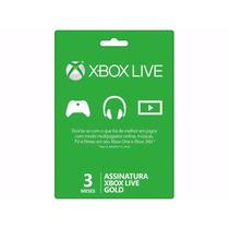 Live Gold Card Microsoft 3 Meses Para Xbox One E Xbox 360