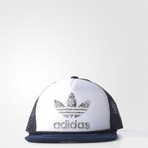 Boné Adidas Trucker Branco Com Azul