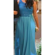 Vestido Festa Longo Pérola Azul Tiffany Madrinha 38