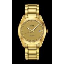 Relógio Mido Masculino Analógo Dourado 18 Microns De Ouro