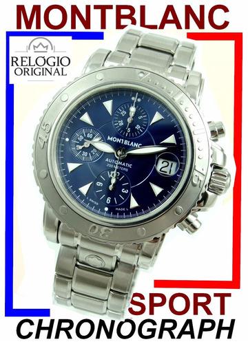 1f9d47737d4 Montblanc Sport Diver Cronoógrafo Auto Aço-aço Blue !!!