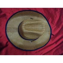 Chapéu De Praia Cowboy Cor Palha Com Acabamento Azul Marinho