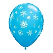 Balão Art-latex Nº9 Flocos De Neve - Bexiga Azul Frozen 25u