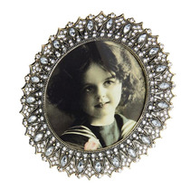 Porta-retrato Provença Rendondo Prata Em Metal - 15x15 Cm