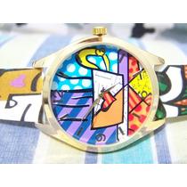 Relógio De Pulso Potenzia Romero Britto Lindo Movt Miyota
