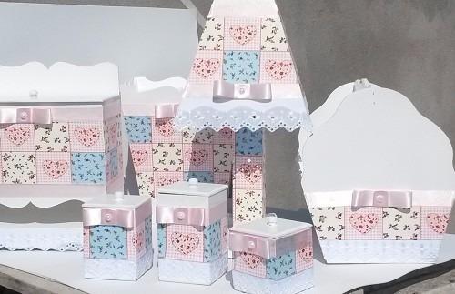 Kit Higiene Beb u00ea Mdf Decorado Com Tecido (7 Peças) R$ 179,90 em Mercado Livre # Como Decorar Kit Higiene Para Bebe Com Perola
