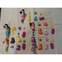 Kit 5 Miniaturas Bonecas + Acessórios - Boneca Tipo Polly