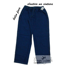 Calça Jeans Tradicional Masculina-grande-elástico Na Cintura