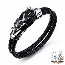 Bracelete Pulseira Aço Couro Vintage Cobra Naja Masculino