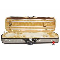 Estojo Case Retangular S Luxo Violino 4/4 Higrômetro Cinza