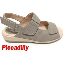 20%off Sandália Piccadilly Conforto Cinza Velcro 464030