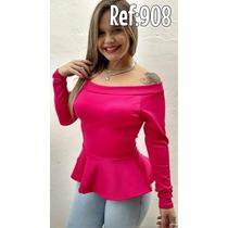 Blusa Peplum Manga Longa Pink Com Bojo ( Ref: 908) Feminina