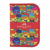 Estojo Escolar De Nylon Carinhas Faber Castell 18.2216