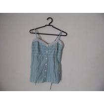Blusa Feminina Azul Xadrez Algodao Alcas Cód. 1024