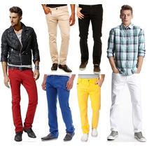 Calça Colorida Masculina 8 Cores Lycra Slim Veste Muito Bem