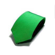 Kit Com 7 Gravatas Masculinas Cor Verde - Poliéster