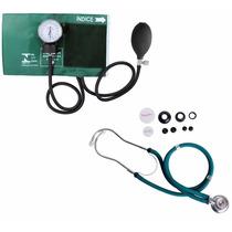 Kit Esfigmomanômetro + Estetoscopio Rappaport Verde Premium