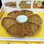 Petisqueira Giratória Em Bambu Tigela Ceramica- 7 Divisórias